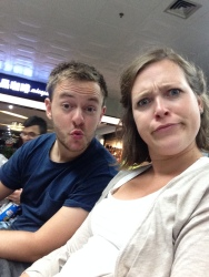 My amazing, goofy new friends. Killing time til our flight.
